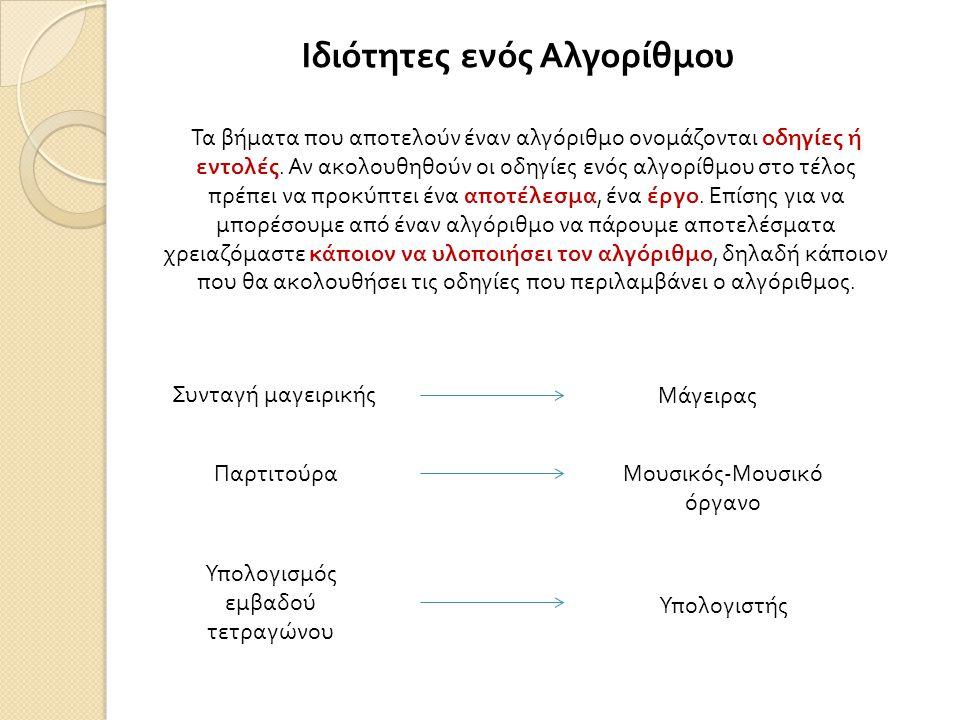 Ιδιότητες ενός Αλγορίθμου