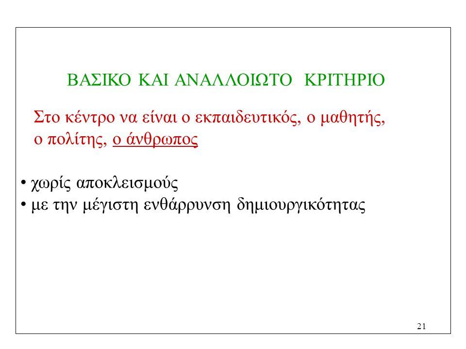 ΒΑΣΙΚΟ ΚΑΙ ΑΝΑΛΛΟΙΩΤΟ ΚΡΙΤΗΡΙΟ