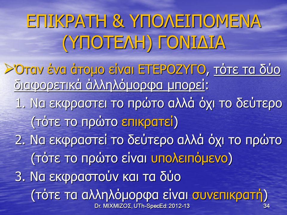 ΕΠΙΚΡΑΤΗ & ΥΠΟΛΕΙΠΟΜΕΝΑ (ΥΠΟΤΕΛΗ) ΓΟΝΙΔΙΑ