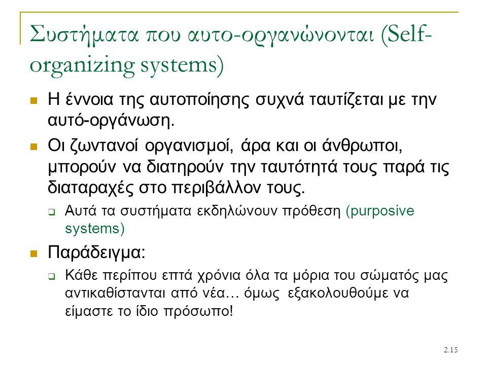Συστήματα που αυτο-οργανώνονται (Self-organizing systems)