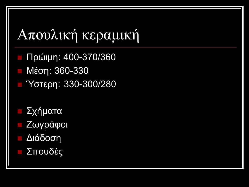 Απουλική κεραμική Πρώιμη: 400-370/360 Μέση: 360-330