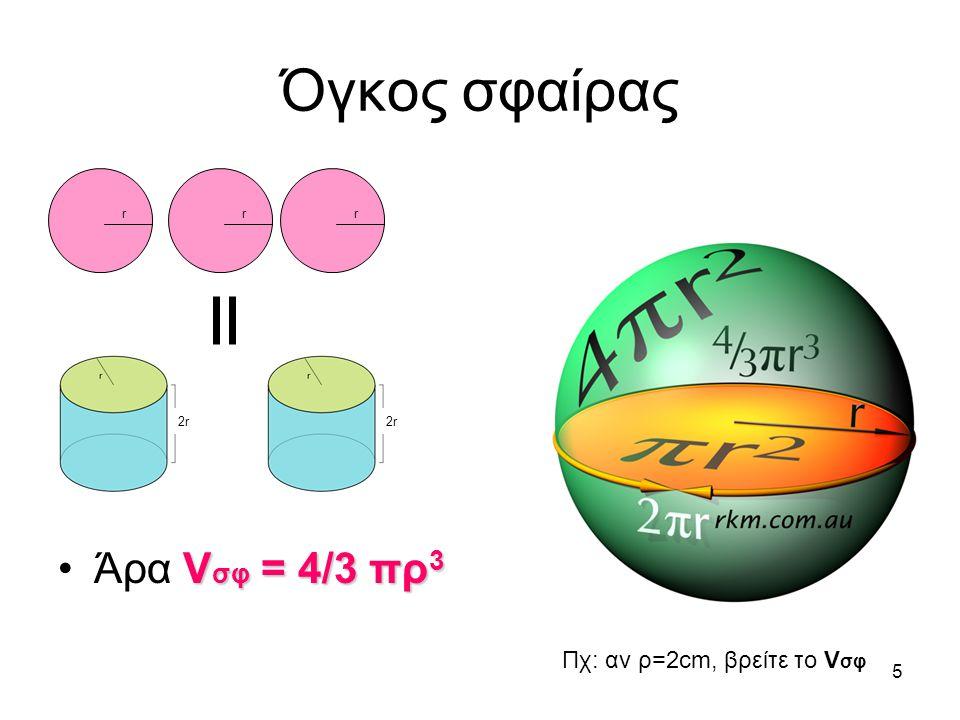 Όγκος σφαίρας Άρα Vσφ = 4/3 πρ3 r 2r Πχ: αν ρ=2cm, βρείτε το Vσφ