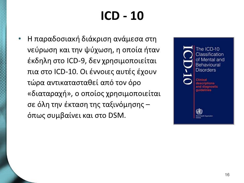 Η αλληλεπίδραση των διαγνωστικών συστημάτων ICD ΚΑΙ DSM