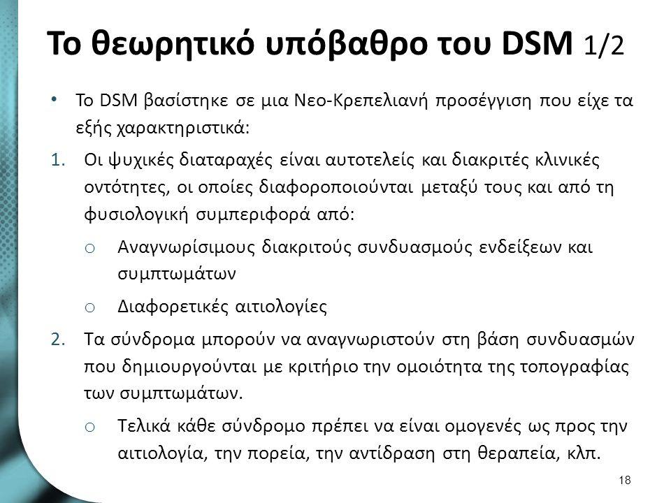 Το θεωρητικό υπόβαθρο του DSM 2/2