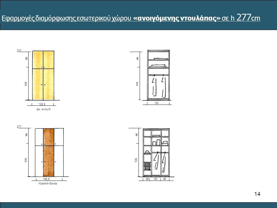 Εφαρμογές διαμόρφωσης εσωτερικού χώρου «ανοιγόμενης ντουλάπας» σε h 277cm