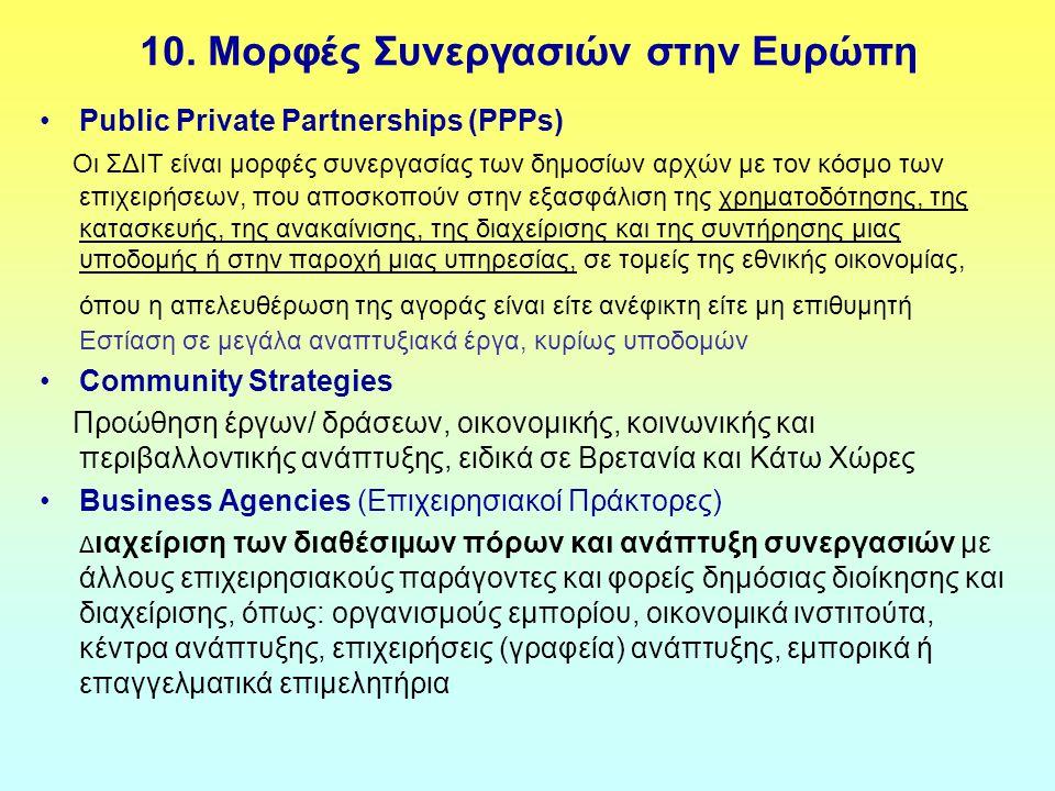 10. Μορφές Συνεργασιών στην Ευρώπη