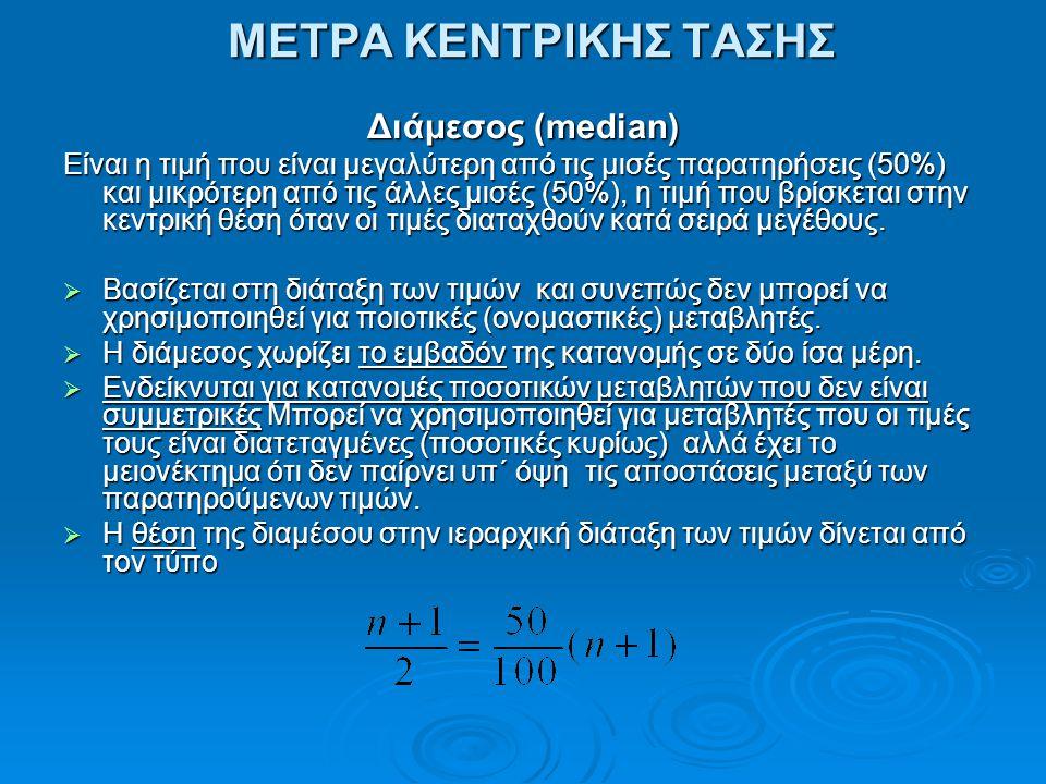 ΜΕΤΡΑ ΚΕΝΤΡΙΚΗΣ ΤΑΣΗΣ Διάμεσος (median)