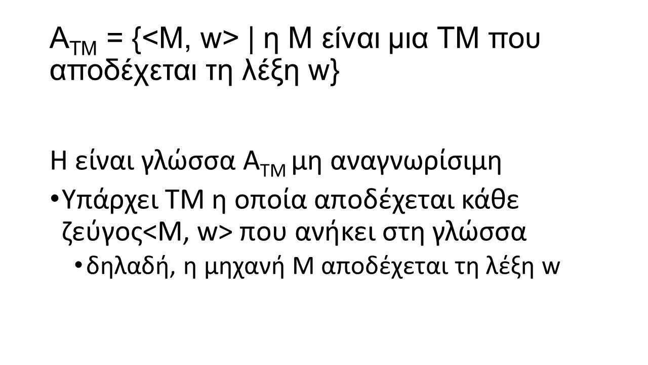 AΤΜ = {<Μ, w> | η Μ είναι μια ΤΜ που αποδέχεται τη λέξη w}