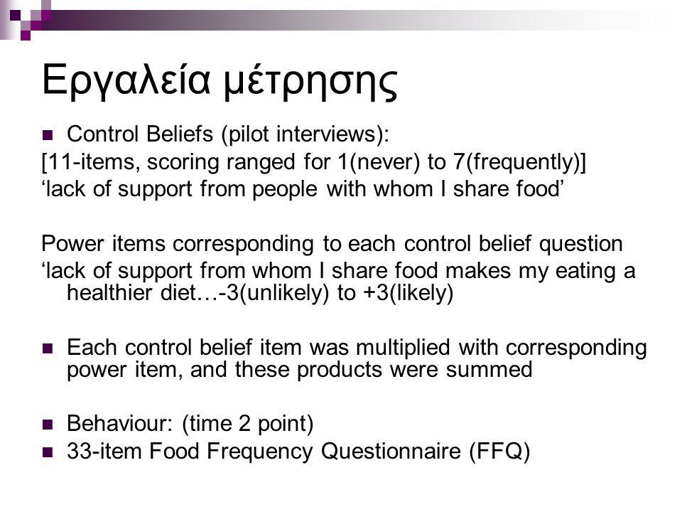 Εργαλεία μέτρησης Control Beliefs (pilot interviews):