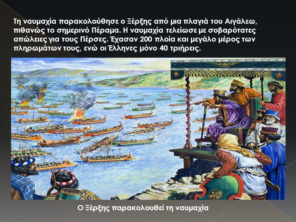 Τη ναυμαχία παρακολούθησε ο Ξέρξης από μια πλαγιά του Αιγάλεω, πιθανώς το σημερινό Πέραμα. Η ναυμαχία τελείωσε με σοβαρότατες απώλειες για τους Πέρσες. Έχασαν 200 πλοία και μεγάλο μέρος των πληρωμάτων τους, ενώ οι Έλληνες μόνο 40 τριήρεις.