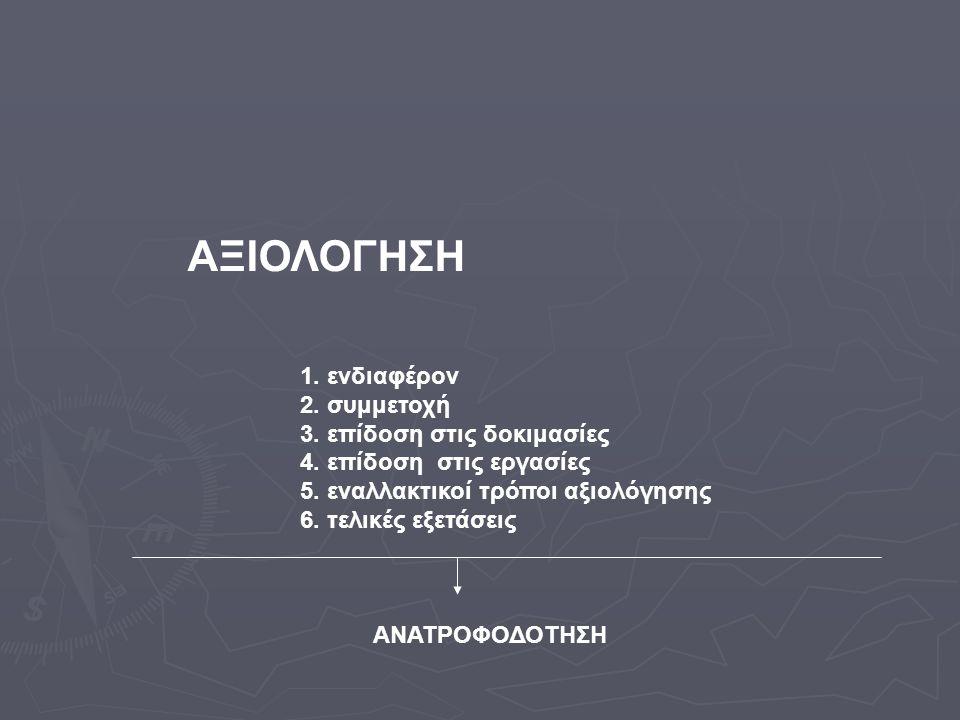 ΑΞΙΟΛΟΓΗΣΗ 1. ενδιαφέρον 2. συμμετοχή 3. επίδοση στις δοκιμασίες