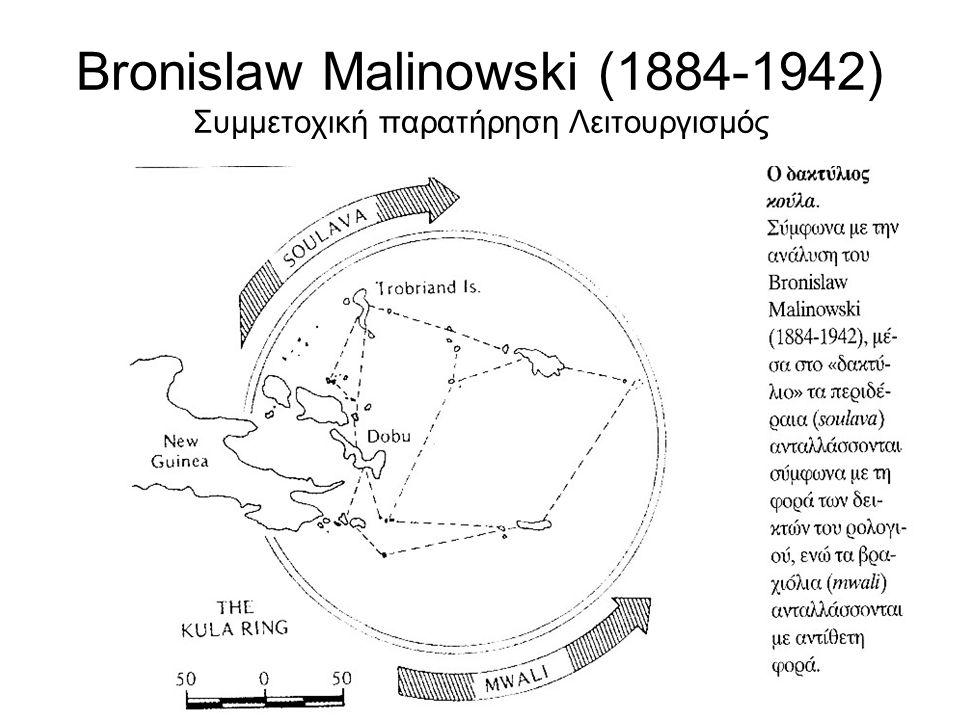 Bronislaw Malinowski (1884-1942) Συμμετοχική παρατήρηση Λειτουργισμός