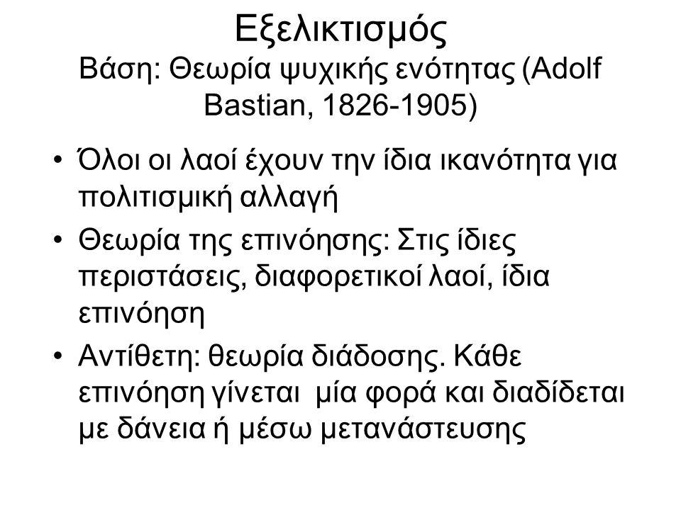 Εξελικτισμός Βάση: Θεωρία ψυχικής ενότητας (Adolf Bastian, 1826-1905)