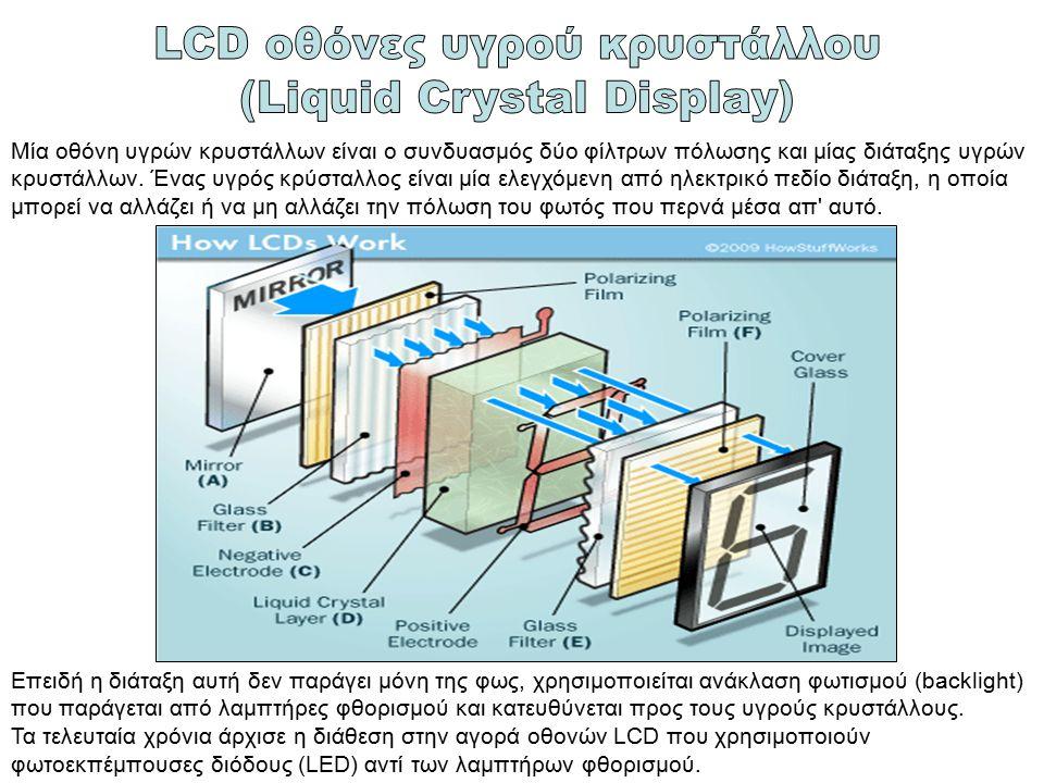 LCD οθόνες υγρού κρυστάλλου (Liquid Crystal Display)