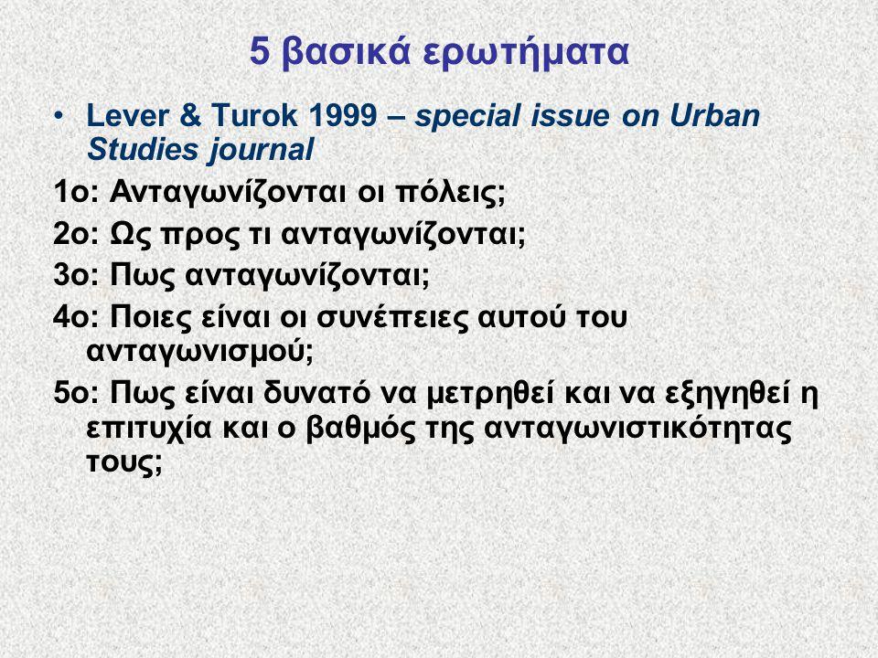 5 βασικά ερωτήματα Lever & Turok 1999 – special issue on Urban Studies journal. 1ο: Ανταγωνίζονται οι πόλεις;