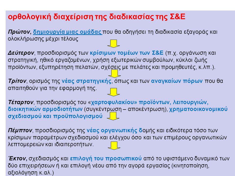 ορθολογική διαχείριση της διαδικασίας της Σ&Ε