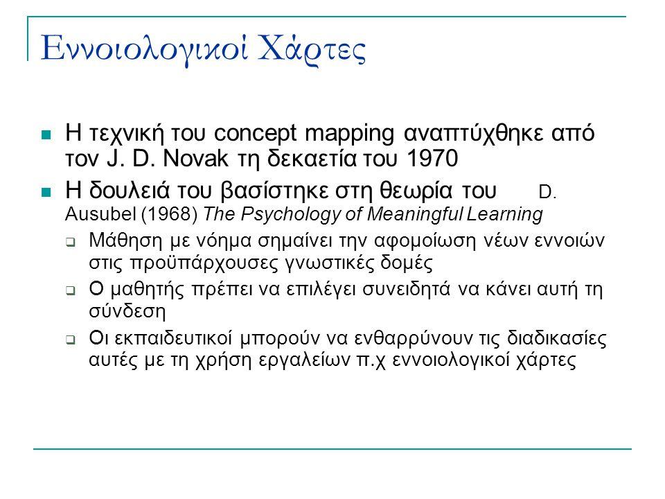 Εννοιολογικοί Χάρτες Η τεχνική του concept mapping αναπτύχθηκε από τον J. D. Novak τη δεκαετία του 1970.