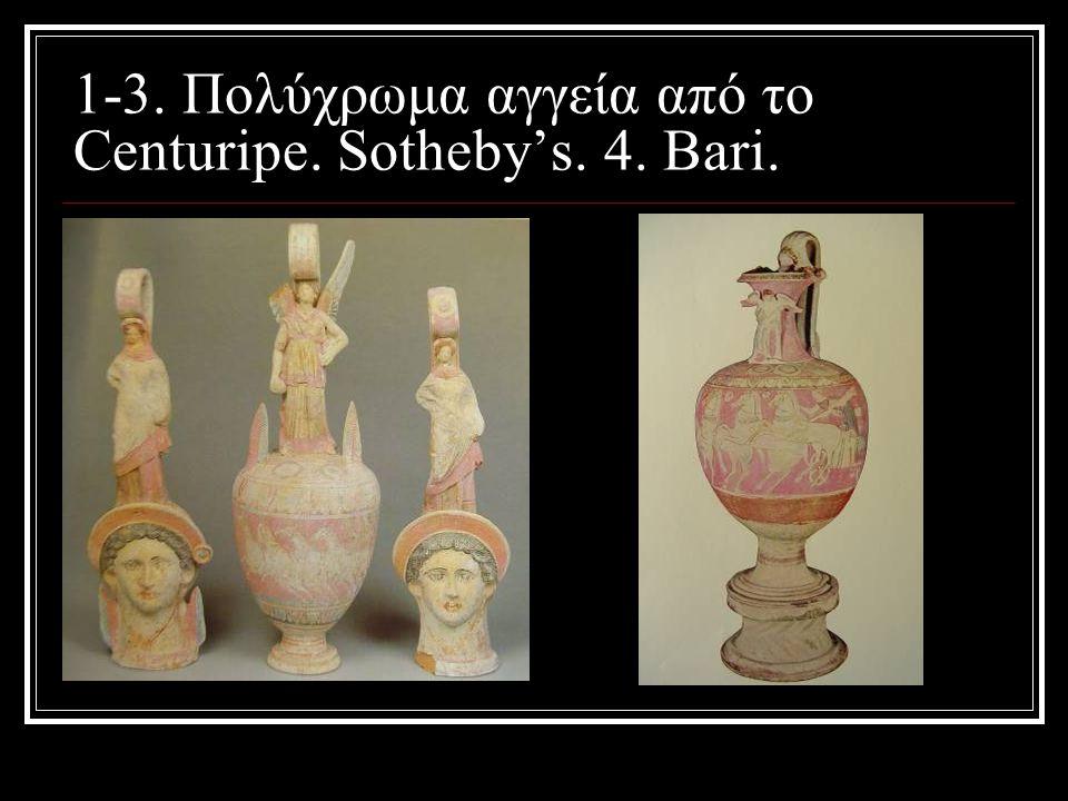 1-3. Πολύχρωμα αγγεία από το Centuripe. Sotheby's. 4. Βari.