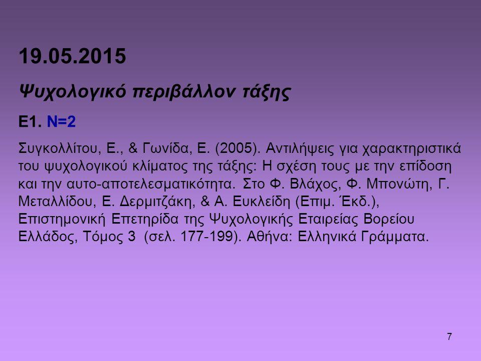 19.05.2015 Ψυχολογικό περιβάλλον τάξης Ε1. N=2