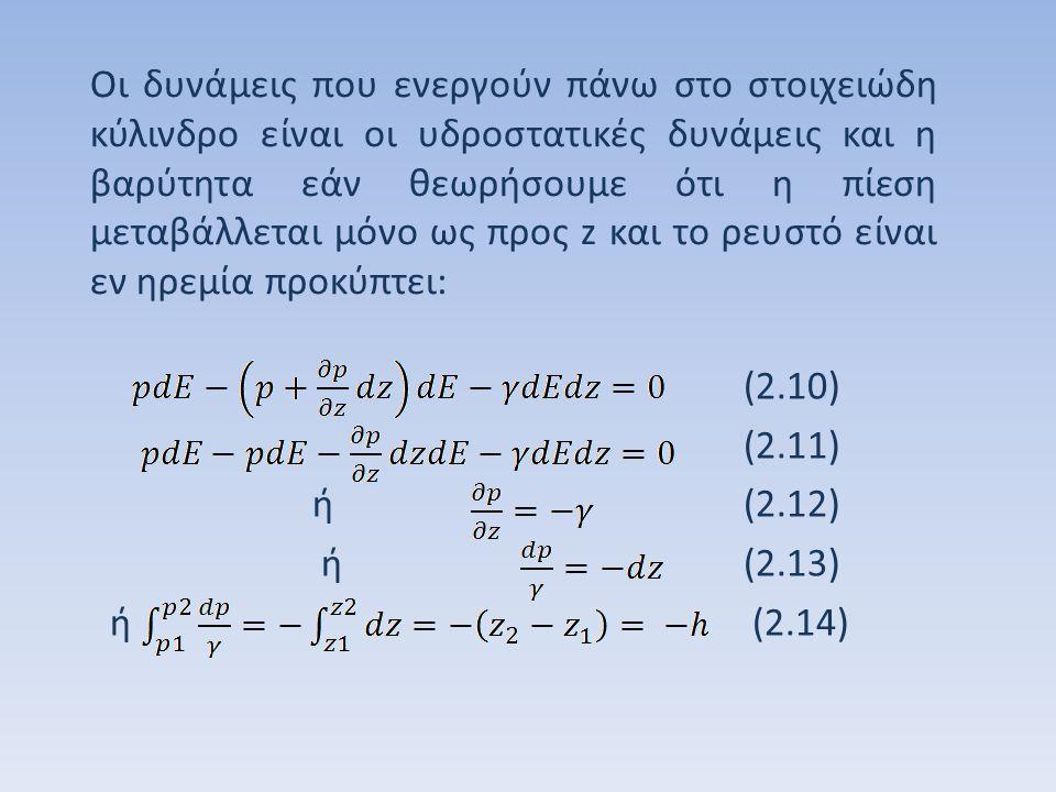 Οι δυνάμεις που ενεργούν πάνω στο στοιχειώδη κύλινδρο είναι οι υδροστατικές δυνάμεις και η βαρύτητα εάν θεωρήσουμε ότι η πίεση μεταβάλλεται μόνο ως προς z και το ρευστό είναι εν ηρεμία προκύπτει:
