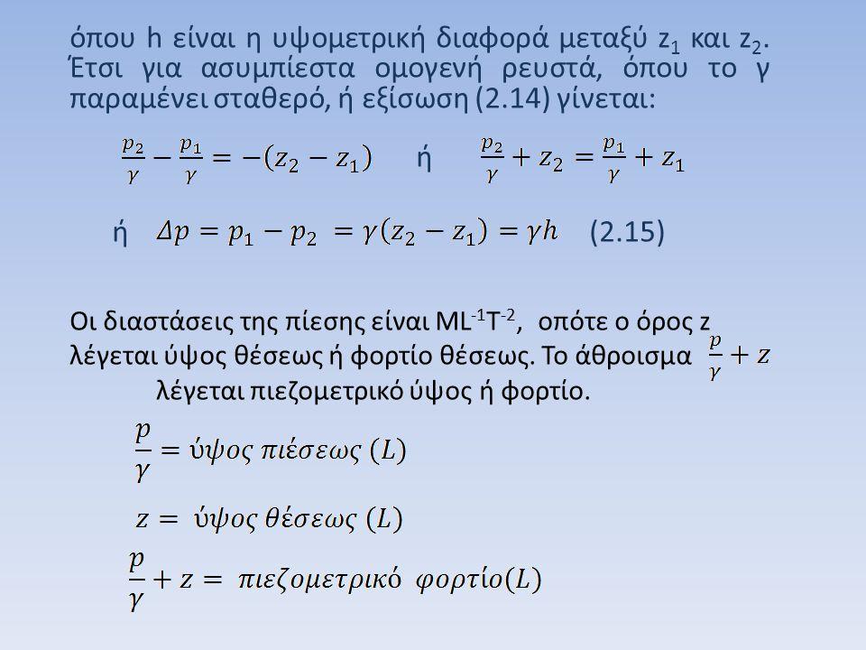 όπου h είναι η υψομετρική διαφορά μεταξύ z1 και z2