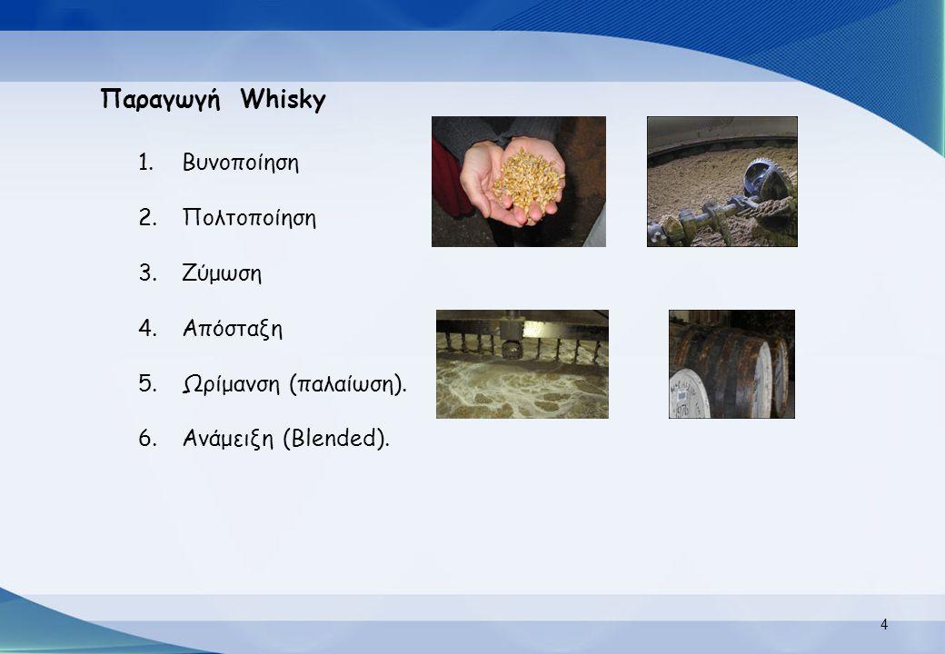 Παραγωγή Whisky Βυνοποίηση Πολτοποίηση Ζύμωση Απόσταξη