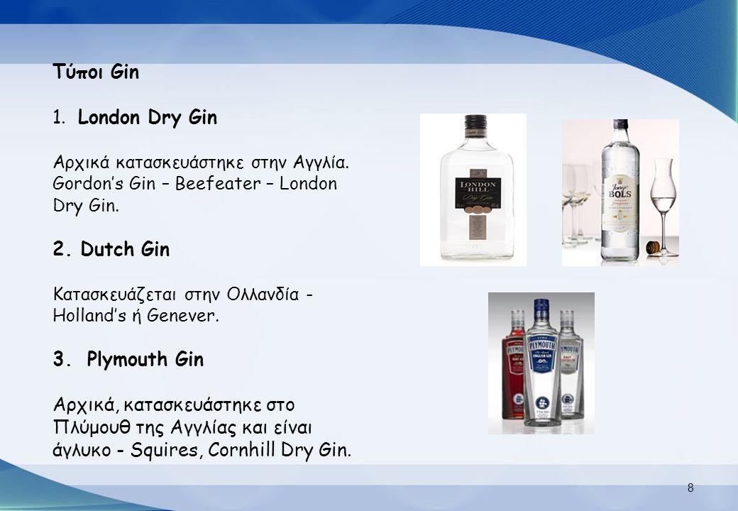 Τύποι Gin London Dry Gin Dutch Gin Plymouth Gin