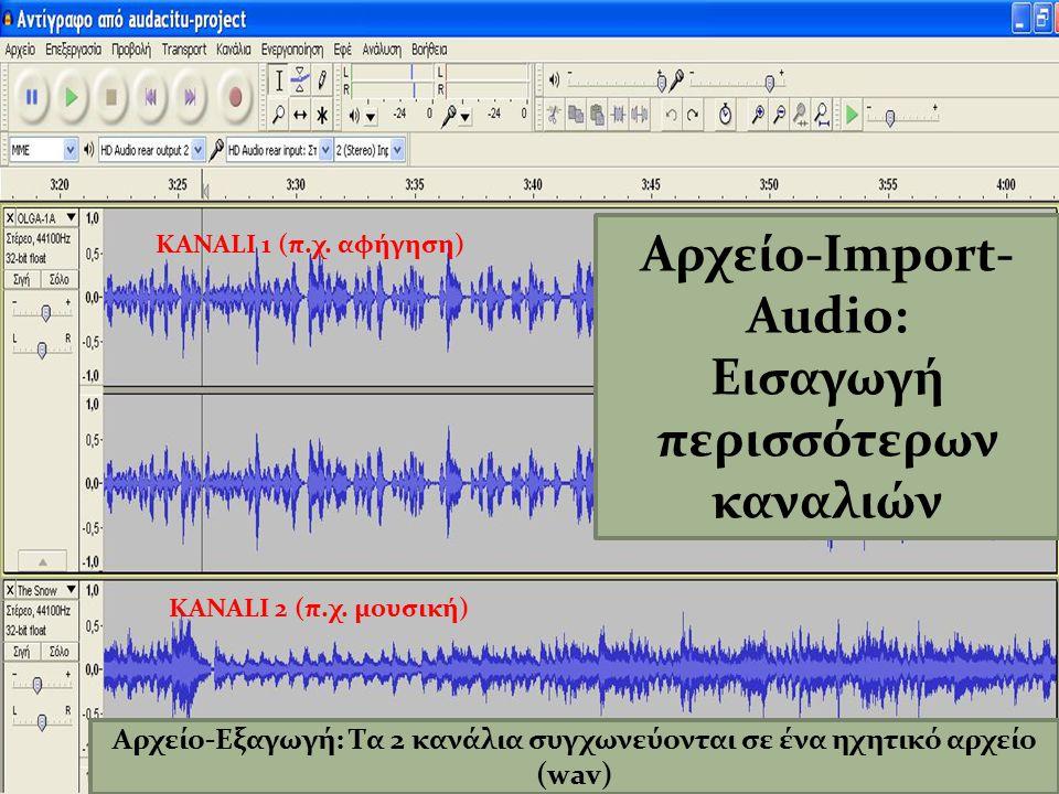 Αρχείο-Import-Audio: Εισαγωγή περισσότερων καναλιών