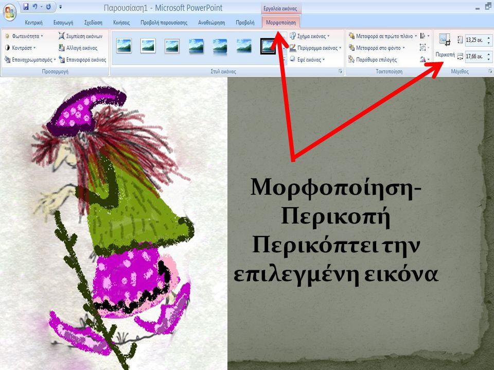 Μορφοποίηση-Περικοπή Περικόπτει την επιλεγμένη εικόνα