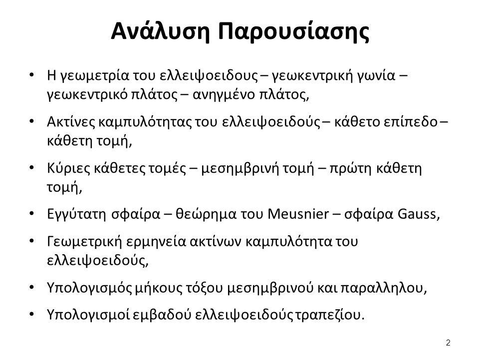 Η γεωμετρία του ελλειψοειδούς (1 από 6)