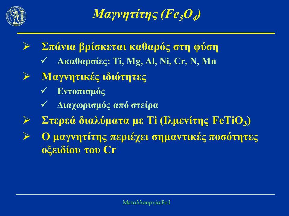 Μαγνητίτης (Fe3O4) Σπάνια βρίσκεται καθαρός στη φύση