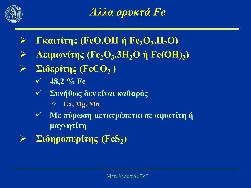 Άλλα ορυκτά Fe Γκαιτίτης (FeO.OH ή Fe2O3.H2O)