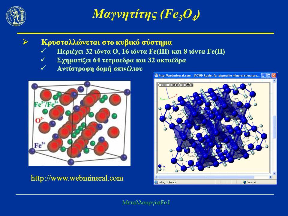 Μαγνητίτης (Fe3O4) Κρυσταλλώνεται στο κυβικό σύστημα