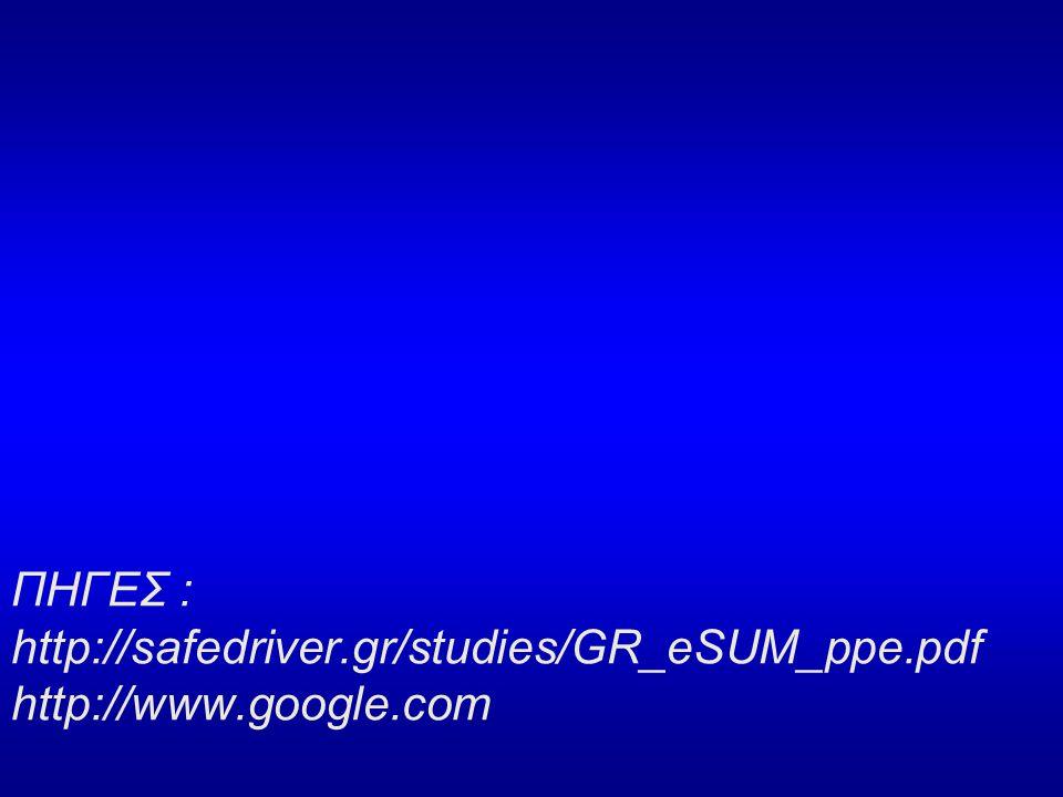 ΠΗΓΕΣ : http://safedriver. gr/studies/GR_eSUM_ppe. pdf http://www