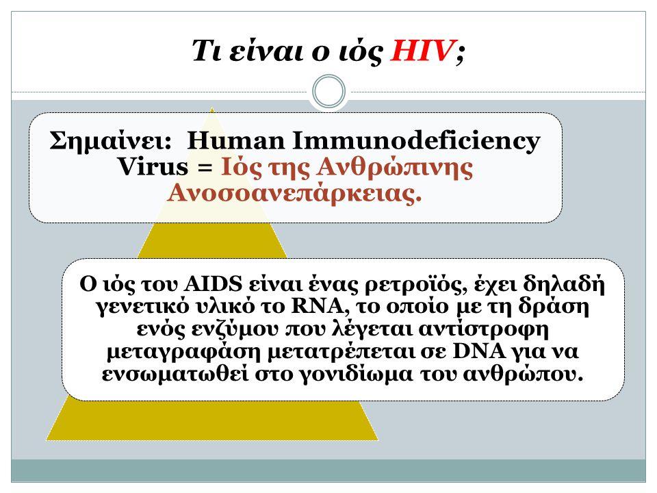 Τι είναι ο ιός HIV; Σημαίνει: Human Immunodeficiency Virus = Ιός της Ανθρώπινης Ανοσοανεπάρκειας.