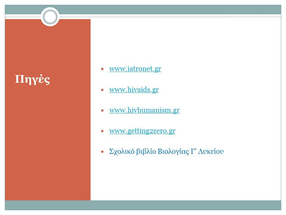 Πηγές www.iatronet.gr www.hivaids.gr www.hivhumanism.gr
