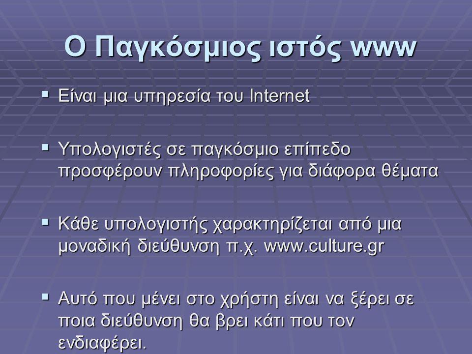 Ο Παγκόσμιος ιστός www Είναι μια υπηρεσία του Internet