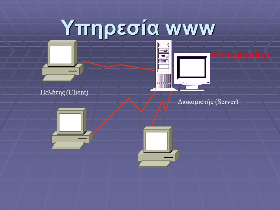 Υπηρεσία www www.ypepth.gr Πελάτης (Client) Διακομιστής (Server)