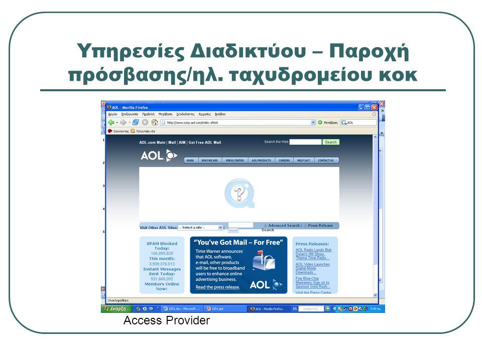 Υπηρεσίες Διαδικτύου – Παροχή πρόσβασης/ηλ. ταχυδρομείου κοκ
