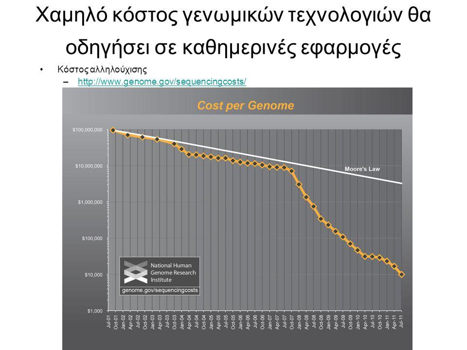 Χαμηλό κόστος γενωμικών τεχνολογιών θα οδηγήσει σε καθημερινές εφαρμογές