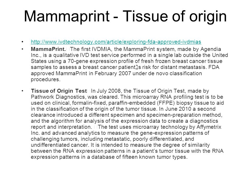 Mammaprint - Tissue of origin