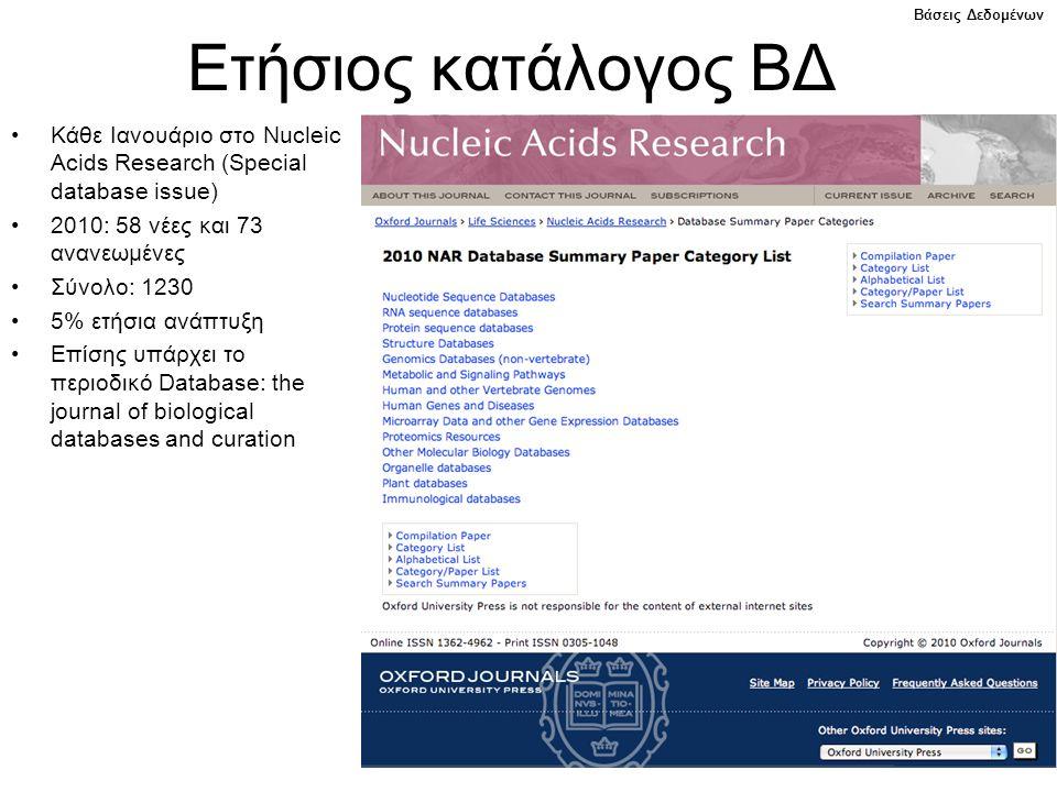 Ετήσιος κατάλογος ΒΔ Βάσεις Δεδομένων. Κάθε Ιανουάριο στο Nucleic Acids Research (Special database issue)