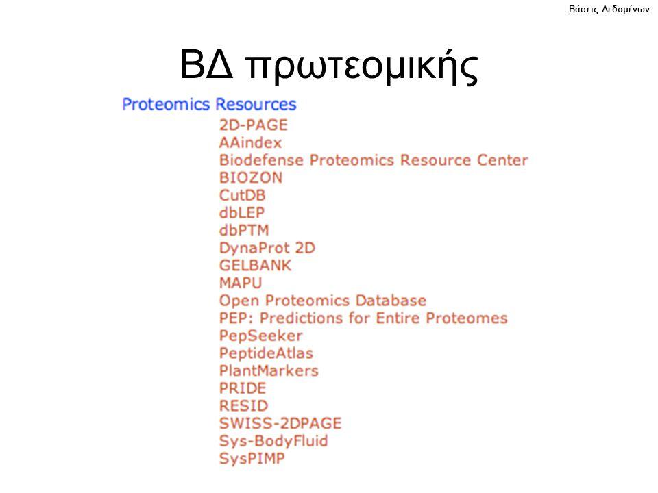 Βάσεις Δεδομένων ΒΔ πρωτεομικής
