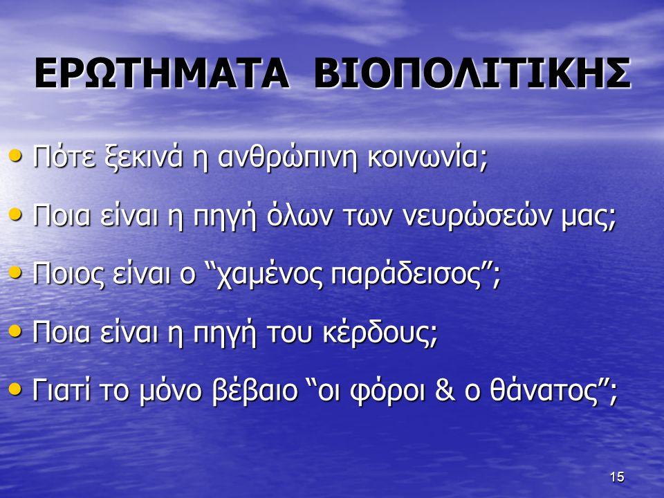 ΕΡΩΤΗΜΑΤΑ ΒΙΟΠΟΛΙΤΙΚΗΣ