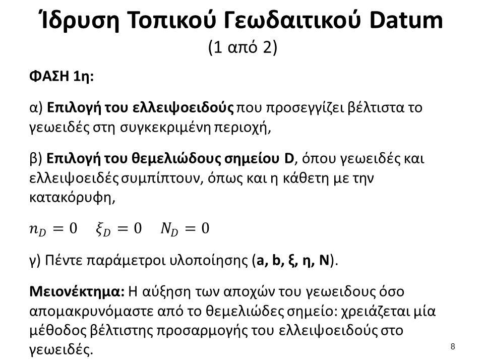 Ίδρυση Τοπικού Γεωδαιτικού Datum (2 από 2)