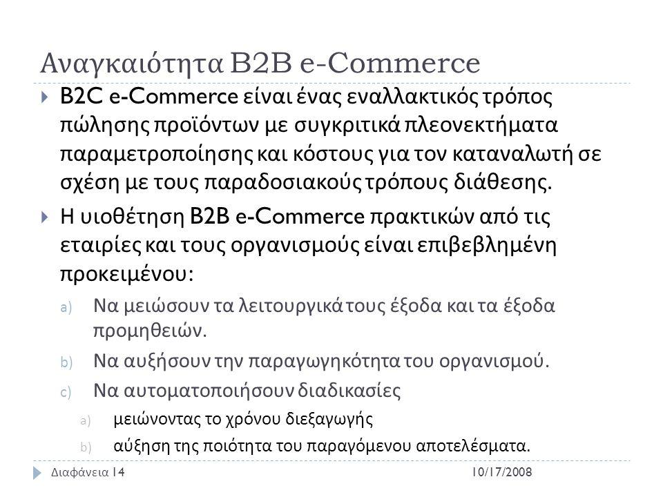 Αναγκαιότητα B2B e-Commerce