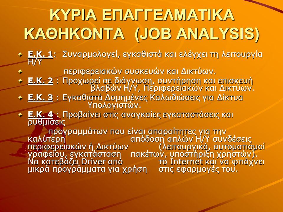 ΚΥΡΙΑ ΕΠΑΓΓΕΛΜΑΤΙΚΑ ΚΑΘΗΚΟΝΤΑ (JOB ANALYSIS)