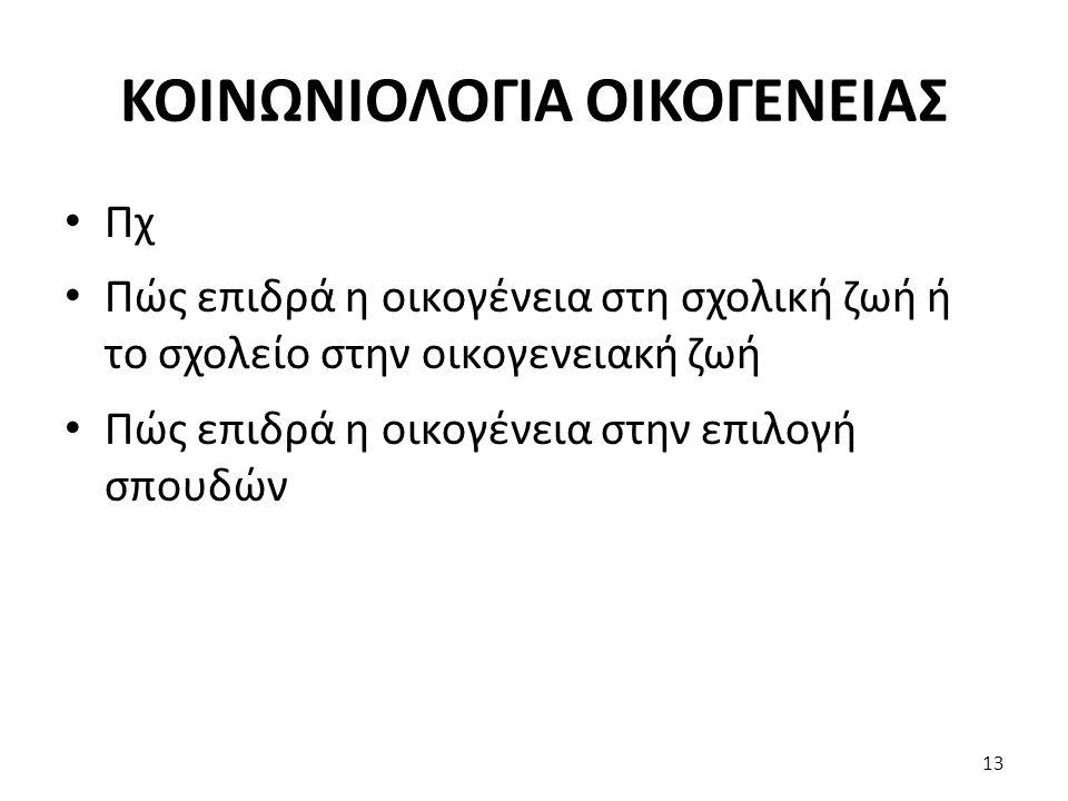 ΚΟΙΝΩΝΙΟΛΟΓΙΑ ΟΙΚΟΓΕΝΕΙΑΣ