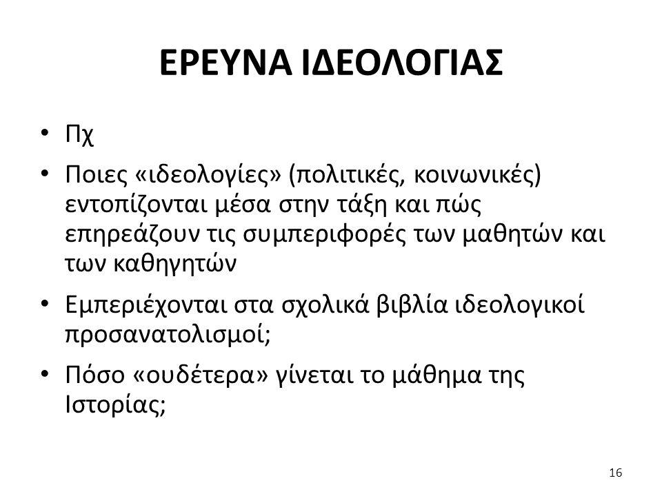 ΕΡΕΥΝΑ ΙΔΕΟΛΟΓΙΑΣ Πχ.