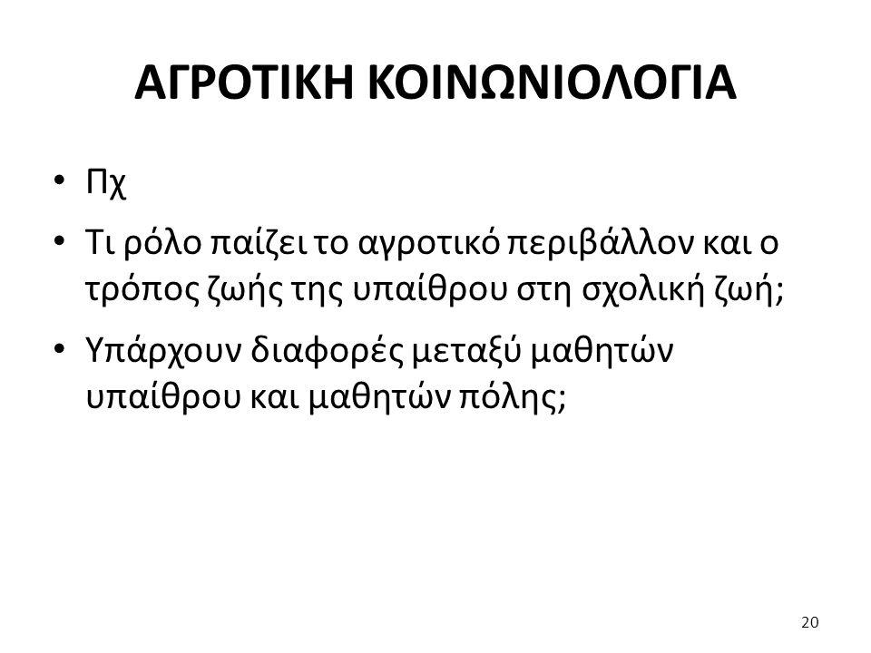 ΑΓΡΟΤΙΚΗ ΚΟΙΝΩΝΙΟΛΟΓΙΑ